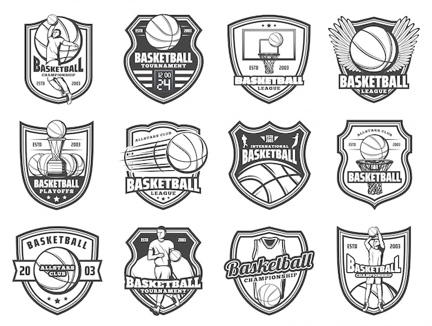 Bola de esporte de basquete e emblemas de escudo do jogador