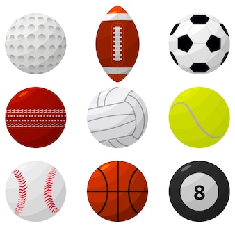 Bola de esporte definida para jogos diferentes. estilo de design plano.