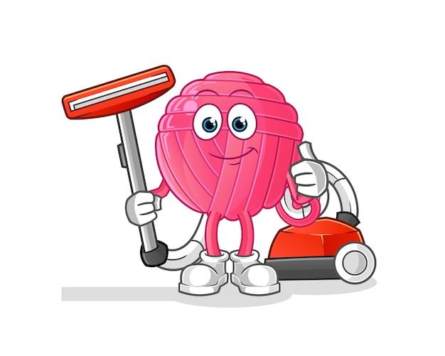 Bola de fios limpa com uma ilustração de aspirador de pó. personagem