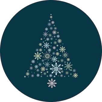 Bola de flocos de neve azul escura com uma linda árvore de natal multicolorida e delicada feita de flocos de neve