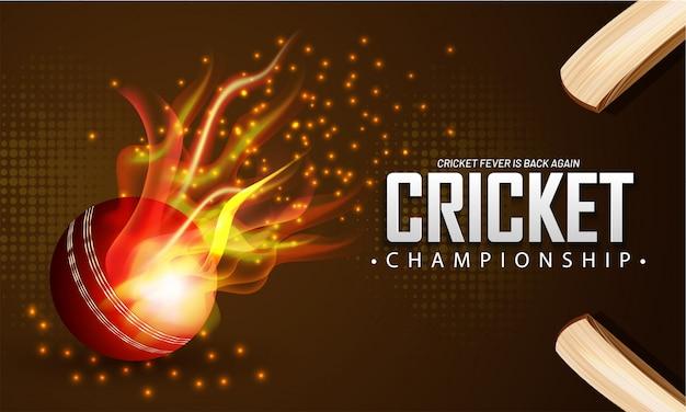 Bola de fogo realista e bastão de críquete
