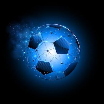 Bola de futebol abstrata de linhas e partículas brilhantes conectando a rede