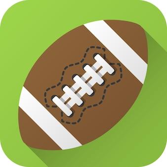 Bola de futebol americano de couro de brinquedo em design plano com longa sombra ícone de ilustração vetorial