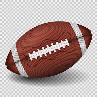 Bola de futebol americano. ícone realista. vista frontal da bola de rugby americano. isolado em fundo transparente