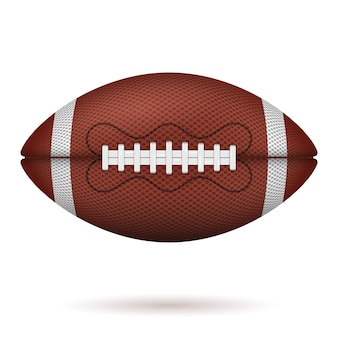 Bola de futebol americano. ícone realista. vista frontal da bola de rugby americano. no fundo branco