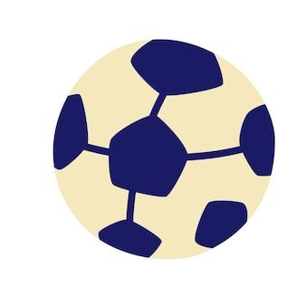 Bola de futebol. bola de futebol dos desenhos animados. atividades esportivas, equipamentos esportivos, jogar futebol. ilustração vetorial em estilo simples, isolada no fundo branco