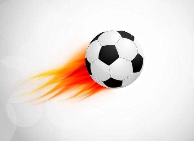 Bola de futebol com chamas. ilustração brilhante abstrata