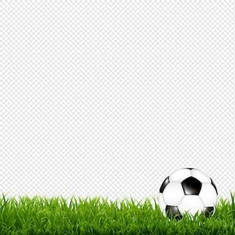 Bola de futebol com fundo transparente de borda de grama com malha gradiente, ilustração