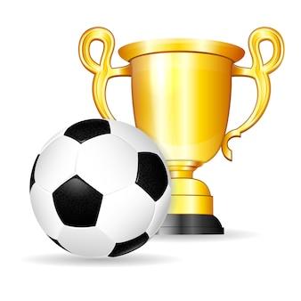 Bola de futebol com troféu de ouro