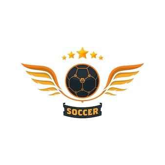 Bola de futebol criativa com asas e estrelas - modelo de logotipo Vetor Premium