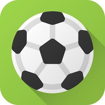 Bola de futebol de brinquedo em couro preto e branco em design plano com longa sombra ícone de ilustração vetorial