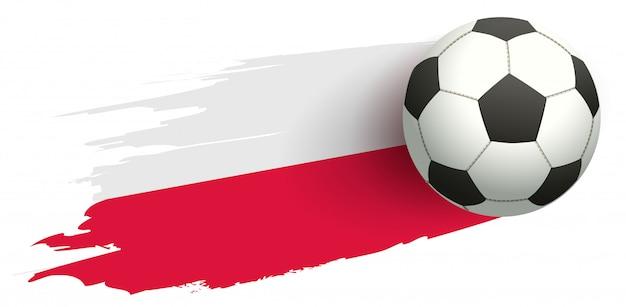 Bola de futebol e bandeira do símbolo de futebol da polônia