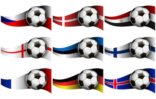 Bola de futebol e bandeiras