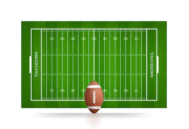 Bola de futebol e campo de futebol.