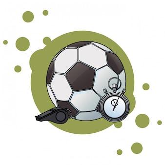 Bola de futebol e cronômetro