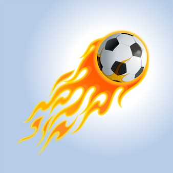 Bola de futebol em chamas. ilustração.