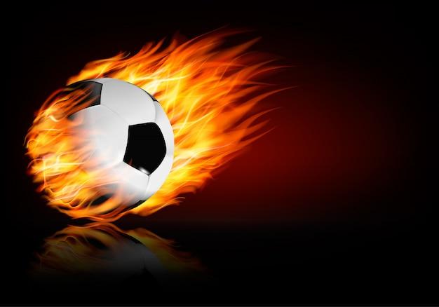 Bola de futebol em chamas.
