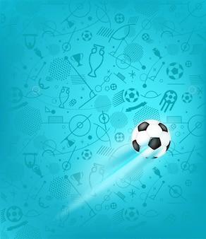 Bola de futebol em fundo azul