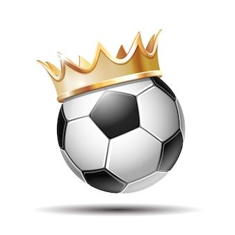 Bola de futebol em golden royal crown