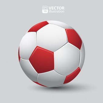 Bola de futebol em vermelho e branco realista isolada