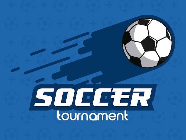 Bola de futebol lançada sobre fundo azul