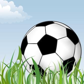 Bola de futebol na grama verde, elemento de design, ilustração vetorial