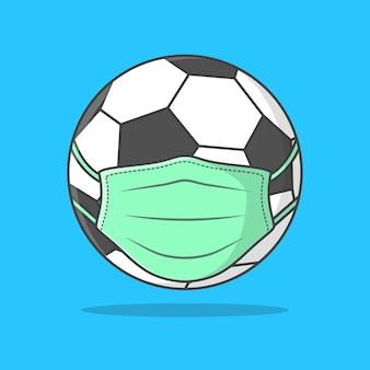 Bola de futebol na ilustração de máscara facial médica.