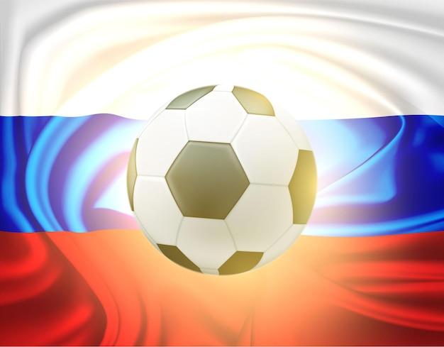 Bola de futebol na ilustração do fundo da bandeira de cetim russa