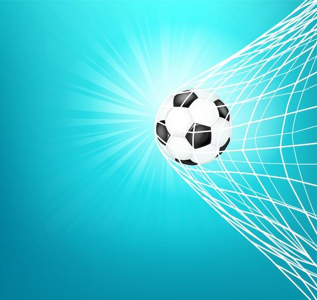 Bola de futebol na rede. objetivo