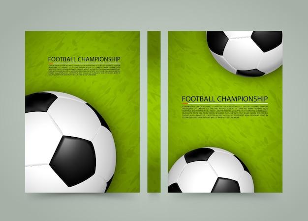 Bola de futebol no banner de campo, fundo da capa do esporte, papel tamanho a4