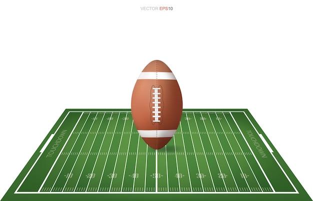 Bola de futebol no campo de futebol com área de padrão de linha para o fundo