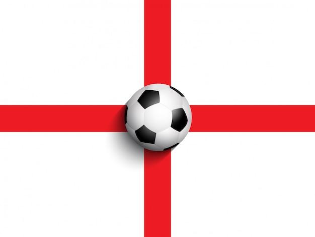 Bola de futebol no fundo da bandeira de inglaterra