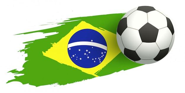 Bola de futebol no fundo da bandeira do brasil