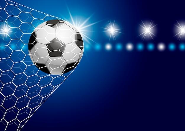 Bola de futebol no gol com ilustração vetorial de holofotes
