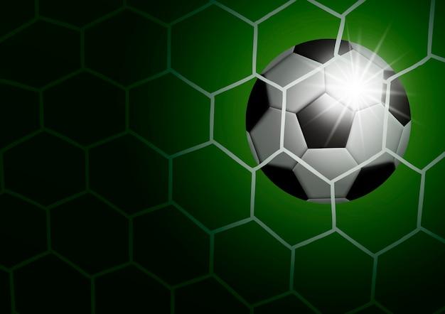 Bola de futebol no gol com ilustração vetorial de luz