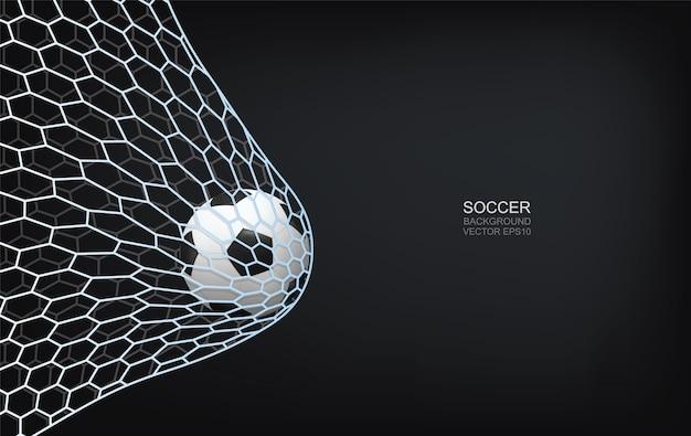 Bola de futebol no gol.