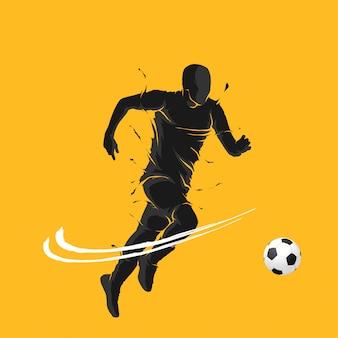 Bola de futebol posando silhueta chama negra