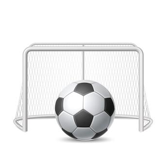Bola de futebol realista com portão