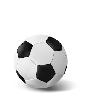 Bola de futebol realista isolado no branco. a bola para o futebol europeu. clássico