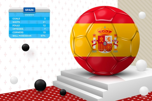 Bola de futebol realista v3d com bandeira da espanha