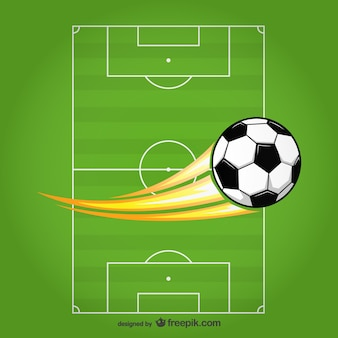 Bola de futebol vetor no campo