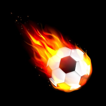 Bola de futebol voando. clube de futebol.