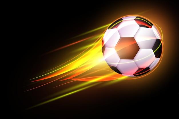 Bola de futebol voando com borrão amarelo de movimento de brilho. cartaz de bola de futebol em chamas para o jogo de esporte de futebol.