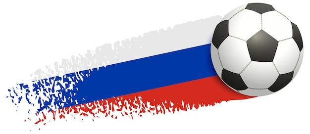 Bola de futebol voando no fundo do campeonato europeu de futebol com bandeira russa