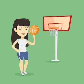 Bola de giro jovem jogador de basquete.