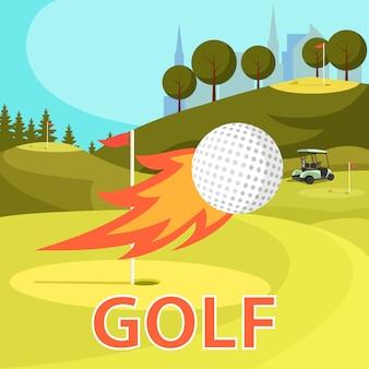 Bola de golfe ardente voar perto de buraco marcado com bandeira vermelha