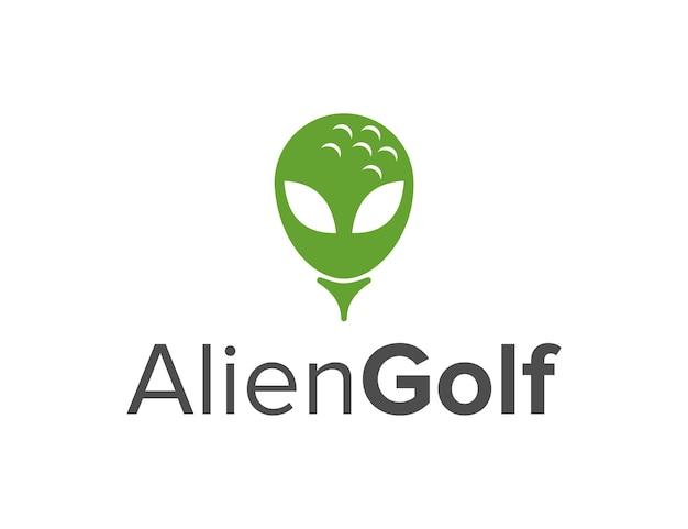 Bola de golfe com cabeça alienígena, simples, elegante, criativo, geométrico, moderno, design de logotipo
