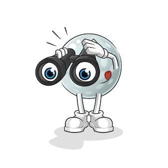 Bola de golfe com caráter de binóculos. mascote dos desenhos animados