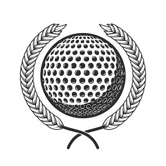 Bola de golfe com coroa de louros. elemento de design de logotipo, etiqueta, sinal, cartaz, cartão, crachá. ilustração vetorial