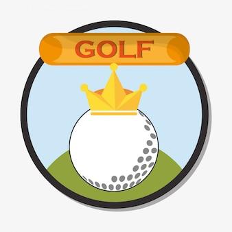 Bola de golfe com emblema de coroa dourada